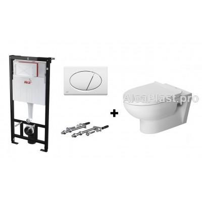 Інсталяція AlcaPlast AM101/1120 з білою кнопкою AlcaPlast M70 і Унітаз підвісний безобідковий DURAVIT DuraStyle Basic 45620900A1