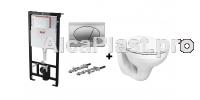 Інсталяція AlcaPlast AM101/1120 з хромованою кнопкою AlcaPlast M71 и Унітаз підвісний Kolo IDOL M1310002U