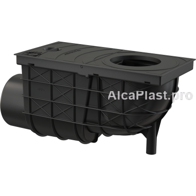 Зливовідвід 300x155/110, підводка-бічна, чорний AGV3