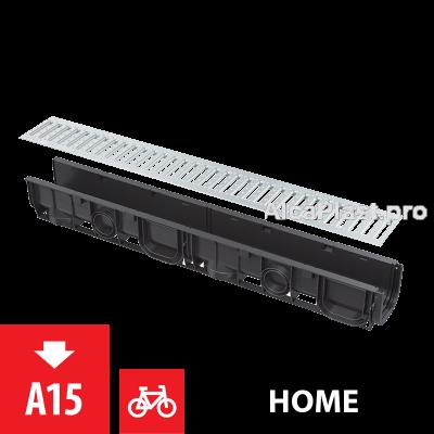 Дренажний канал 100 мм без рамки з оцинкованою решіткою Т-подібного профілю AVZ101-R101
