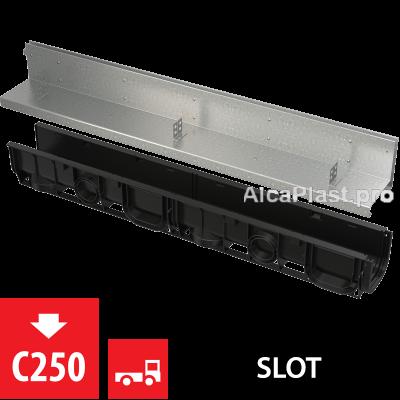 Щілинний дренажний канал 100 мм з асиметричною надставкою з оцинкованої сталі С250 AVZ101-R121