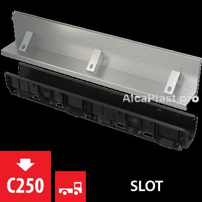 Щілинний дренажний канал 160 мм з асиметричною надставкою з оцинкованої сталі С250 AVZ101-R122
