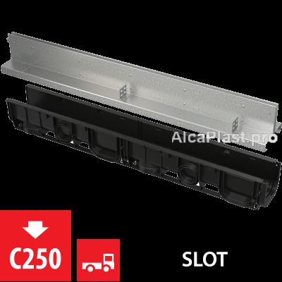 Щілинний дренажний канал 100 мм з симетричною надставкой з оцинкованої сталі С250 AVZ101-R123