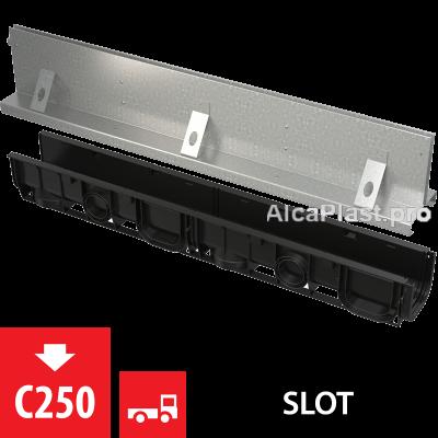 Щілинний дренажний канал 160 мм з симетричною надставкой з оцинкованої сталі С250 AVZ101-R124