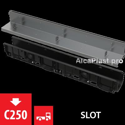Щілинний дренажний канал 100 мм з асиметричною надставкою з нержавіючої сталі С250 AVZ101-R321