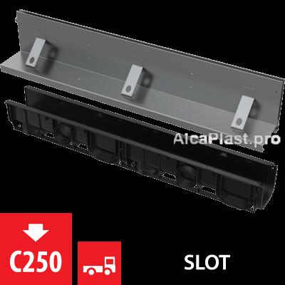 Щілинний дренажний канал 160 мм з асиметричною надставкою з нержавіючої сталі С250 AVZ101-R322