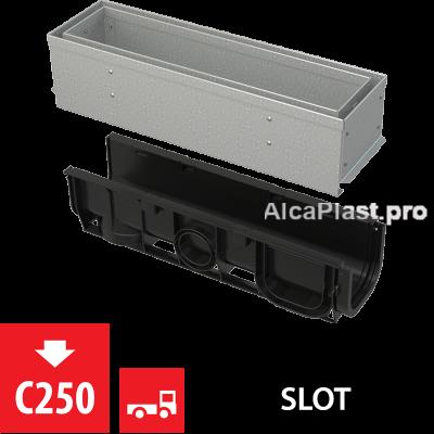 Щілинний дренажний канал 100 мм з асиметричною надставкою з оцинкованої сталі С250 AVZ101S-R121R