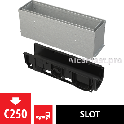 Щілинний дренажний канал 160 мм з асиметричною надставкою з оцинкованої сталі С250 AVZ101S-R122R