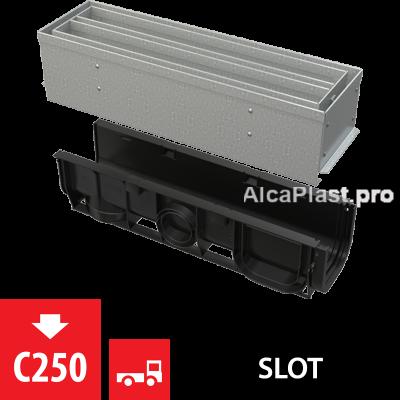Щілинний дренажний канал 100 мм з симетричною надставкой з оцинкованої сталі С250 AVZ101S-R123R