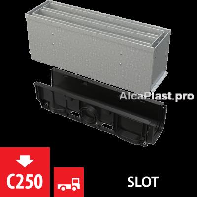 Щілинний дренажний канал 160 мм з симетричною надставкой з оцинкованої сталі С250 AVZ101S-R124R