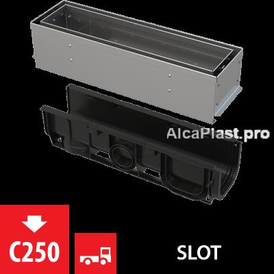 Щілинний дренажний канал 100 мм з асиметричною надставкою з нержавіючої сталі С250 AVZ101S-R321R