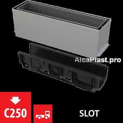 Щілинний дренажний канал 160 мм з асиметричною надставкою з нержавіючої сталі С250 AVZ101S-R322R
