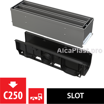 Щілинний дренажний канал 100 мм з симетричною надставкой з нержавіючої сталі С250 AVZ101S-R323R