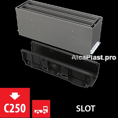 Щілинний дренажний канал 160 мм з симетричною надставкой з нержавіючої сталі С250 AVZ101S-R324R