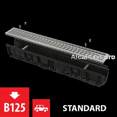 Дренажний канал 100 мм з пластиковою рамою і оцинкованою решіткою В125 AVZ102-R103
