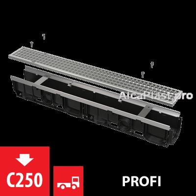 Дренажний канал 100 мм з металевою рамою і оцинкованою решіткою  С250 AVZ103-R104