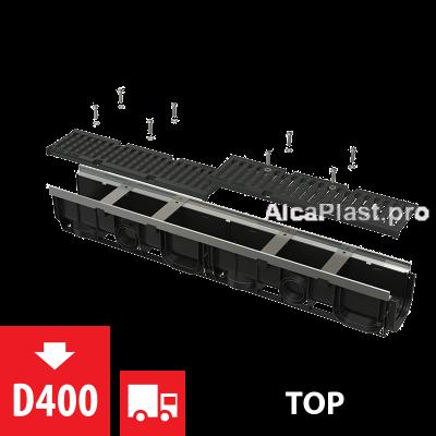 Дренажний канал 100 мм з металевою рамою і чавунною решіткою D400 AVZ103-R201