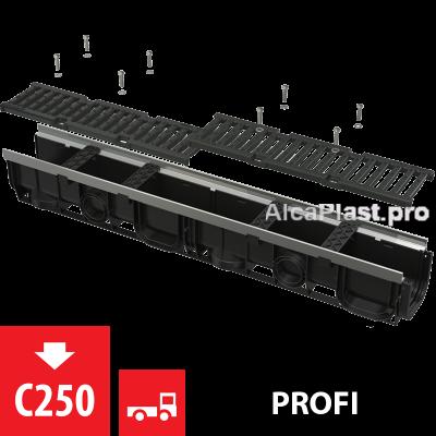 Дренажний канал 100 мм з металевою рамою і чавунною решіткою С250 AVZ103-R202