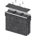 Пісковловлювач для дренажного каналу AVZ103 з металевою рамою і чавунною решіткою D400 AVZ103R-R201