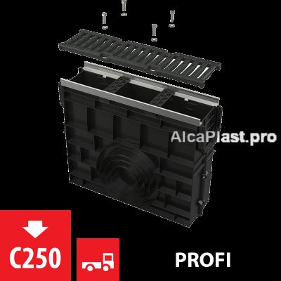 Пісковловлювач для дренажного каналу AVZ103 з металевою рамою і чавунною решіткою С250 AVZ103R-R202