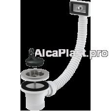 """Водозлив сифона для мийки 6/4"""" з нержавіючою peшіткою d70 и гофропереливом AlcaPlast A331"""