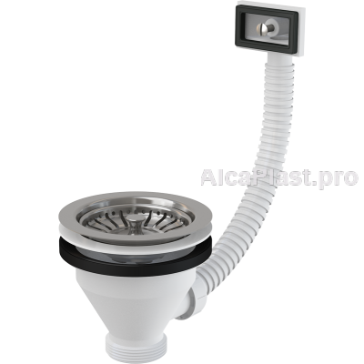"""Водозлив сифона для мийки 6/4"""" з нержавіючою решіткою d115 и гофропереливом AlcaPlast A38"""