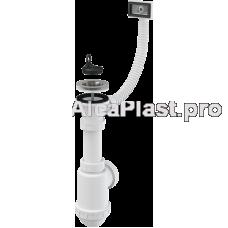 Сифон для мийки з нержавіючою решіткою d70 и гофропереливом AlcaPlast A444-DN50/40