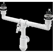 Сифон для здвоєної мийки з нержавіючими решітками d70 и підводкой AlcaPlast A449P-DN50/40