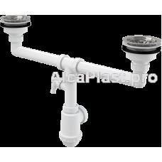 Сифон для здвоєної мийки з нержавіючими решітками d115 и підводкой AlcaPlast A453P