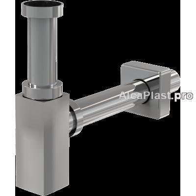 Сифон для умивальника AlcaPlast A401 DESIGN, суцільнометалевий, гранований