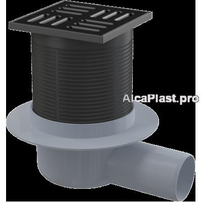 Зливний трап Alcaplast APV31BLACK, 105x105/50, бічний відвід, гідрозатвор комбінований SMART