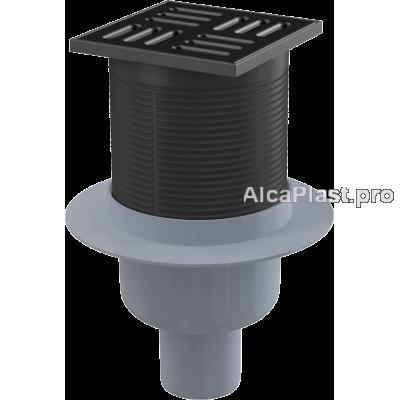 Зливний трап Alcaplast APV32Black , 105x105 / 50мм, прямий відвід, гідрозатвор комбінований SMART