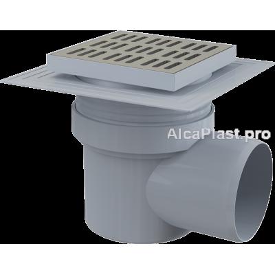 Зливний трап Alcaplast APV12, 150x150 / 110мм, бічний відвід, гідрозатвор мокрий