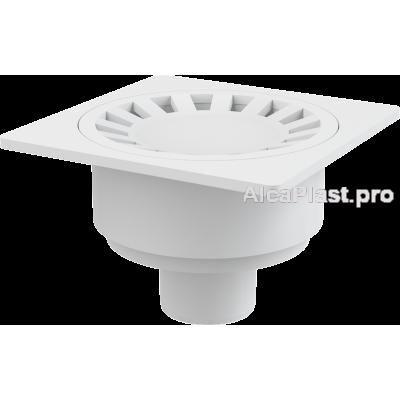 Зливний трап Alcaplast APV16, 150x150 / 50мм, підводка-пряма, решітка-біла, гідрозатвор-мокрий