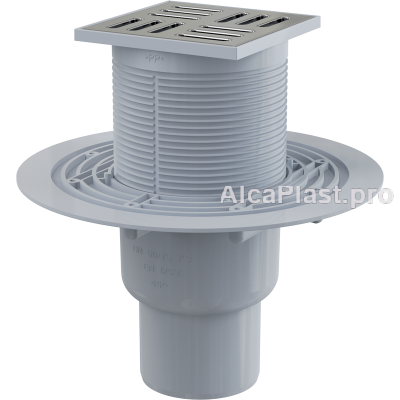 Зливний трап Alcaplast APV201, 105x105 / 50мм, прямий відвід, гідрозатвор мокрий