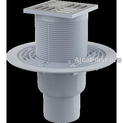 Зливний трап Alcaplast APV2311, 105x105 / 50 / 75мм, прямий відвід, гідрозатвор мокрий