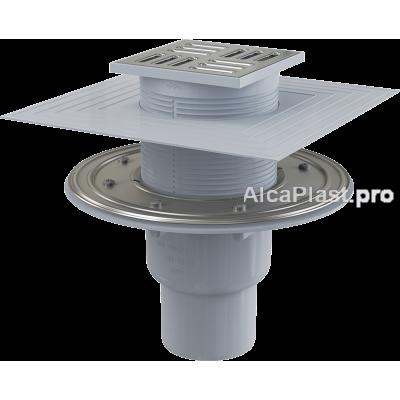 Зливний трап Alcaplast APV2324, 105x105 / 50 / 75мм, прямий відвід, гідрозатвор комбінований SMART