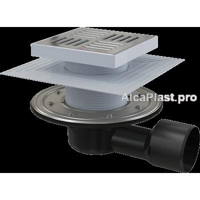 Зливний трап Alcaplast APV3444, 150x150 / 50/75, бічний відвід,Гідрозатвор сухий і мокрий