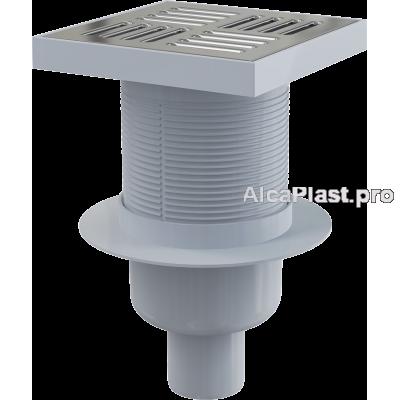 Зливний трап Alcaplast APV6411 150 * 150/50 мм прямий стік, решітка з нержавіючої сталі, гідрозатвор мокрий