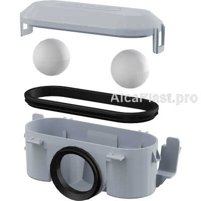 Комбінований гідрозатвор Alcaplast P065 для пластикового жолоба APZ8, 9, 10, 18