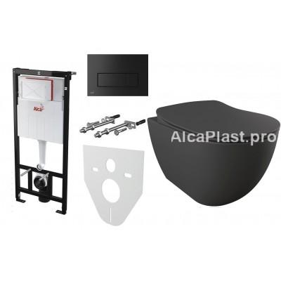 Інсталяція AlcaPlast AM101/1120 з чорною кнопкою AlcaPlast M578 і Унітаз підвісний CREAVIT Free Rim-Off FE322-11AM00E-0000 + сидіння Soft Close KC0903.01.0400E дюропласт