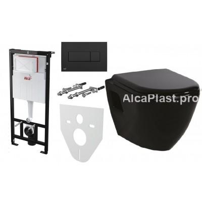 Інсталяція AlcaPlast AM101/1120 з чорною кнопкою AlcaPlast M378 і Унітаз підвісний CREAVIT Tetra TP325-11SI00E-0000 + сидіння Soft Close KC0103.03.1300E дюропласт