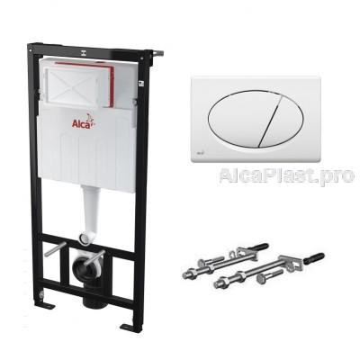Прихована система інсталяції AlcaPlast AM101/1120 з білою кнопкою M70 в комплекті для підвісного унітазу
