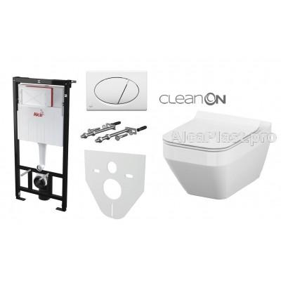 Інсталяція AlcaPlast AM101/1120 з білою кнопкою AlcaPlast M70 і Унітаз підвісний Cersanit Crea Clean On