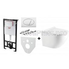 Інсталяція AlcaPlast AM101/1120 з білою кнопкою AlcaPlast M70 і Унітаз KollerPool Round RN0520RW Slim підвісний