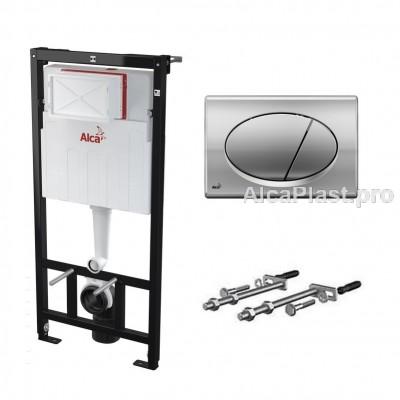 Прихована система інсталяції AlcaPlast AM101/1120 хромованою кнопкою M71 в комплекті для підвісного унітазу