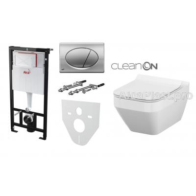 Інсталяція AlcaPlast AM101/1120 з хромованою кнопкою AlcaPlast M71 і Унітаз підвісний Cersanit Crea Clean On